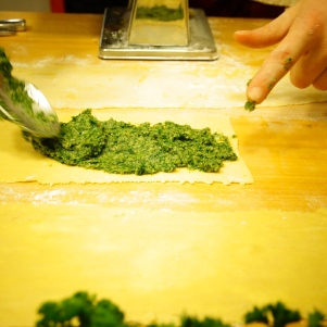 Spinach filling on dough