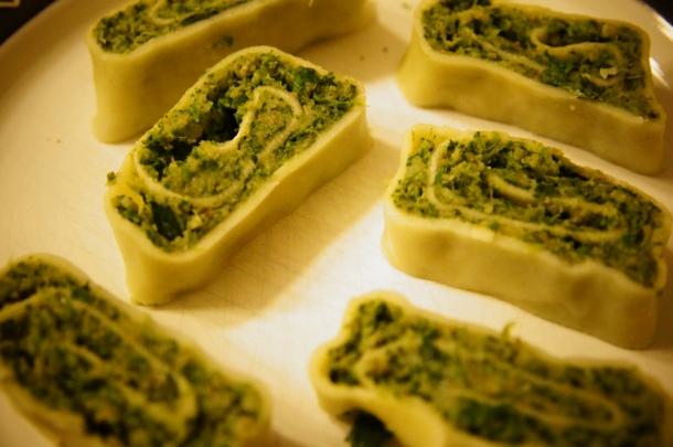 Spinach Maultaschen served