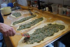 Filling on dough