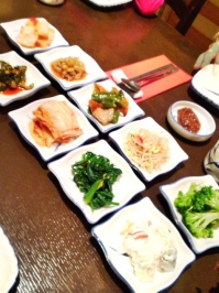 A great assortment of banchan.