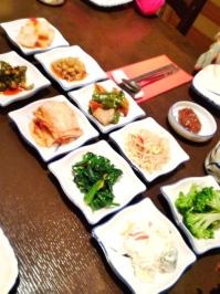 A great assortment of banchan.